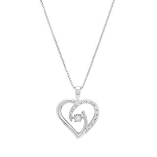 Sterling Silver Diamond with Rhythm Heart Pendant - White H-I