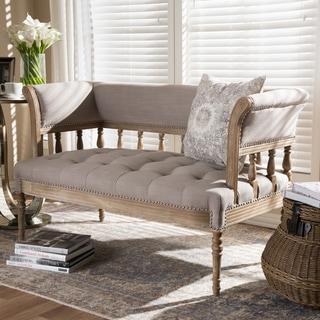 Swedish Gustavian Style Beige Fabric Upholstered Sofa by Baxton Studio