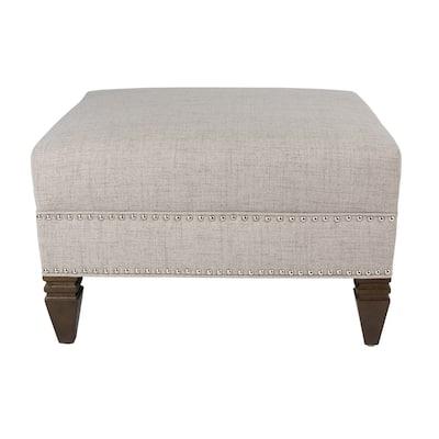 MJL Furniture HUGO Nail Head Trim Upholstered Square Ottoman