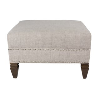 MJL Furniture - HUGO Contemporary JET Fabric Upholstered Square Ottoman with Nail Head Trim and Turned Block Legs (Option: Oatmeal)