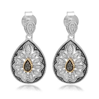 Marabela Sterling Silver and 14k Gold Black Diamond Earrings
