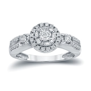 Auriya 14k White Gold 2/5ct TDW Halo Diamond Engagement Ring (H-I, I1-I2)