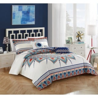 Chic Home 5-piece Izta Blue Cotton Reversible Comforter Set