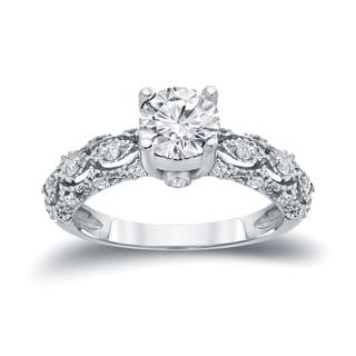 Auriya 14k White Gold 1 1/4ct TW Certified Round Diamond Engagement Ring (H-I, I1-I2)