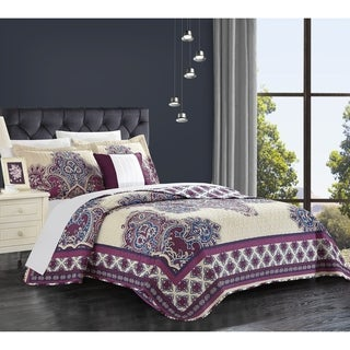 Chic Home 4-piece Muraqqa Cotton Purple Reversible Quilt Set