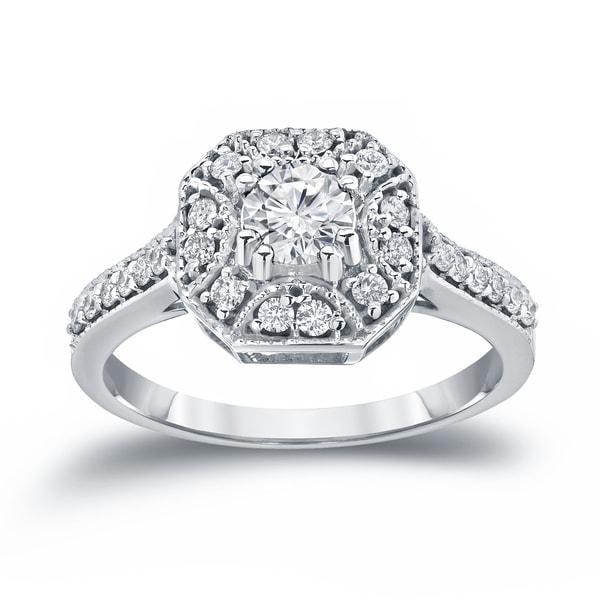 Auriya 14k Gold Vintage Inspired 3/4ct TDW Halo Diamond Engagement Ring