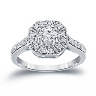 Auriya 14k White Gold 3/4ct TDW Diamond Cluster Engagement Ring (H-I, I1-I2)