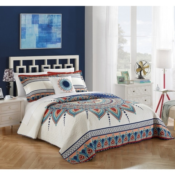 Chic Home 4-piece Nolina Cotton Reversible Quilt Set. Opens flyout.