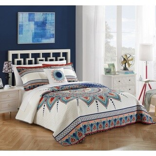 The Curated Nomad Stanyan 4-piece Reversible Cotton Quilt Set (2 options available)