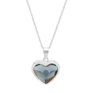 Marabela Sterling Silver Blue Crystal Bubble Heart Pendant