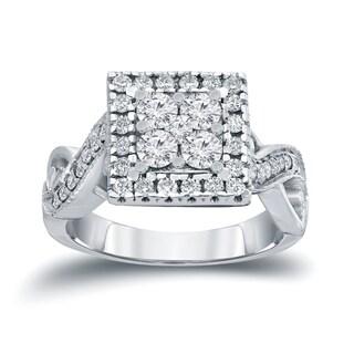 Auriya 14k Gold 4/6ct TDW Diamond Cluster Engagement Ring (H-I, I1-I2)