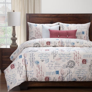 Siscovers Postscript Blue Luxury Duvet Cover and Duvet Insert Set