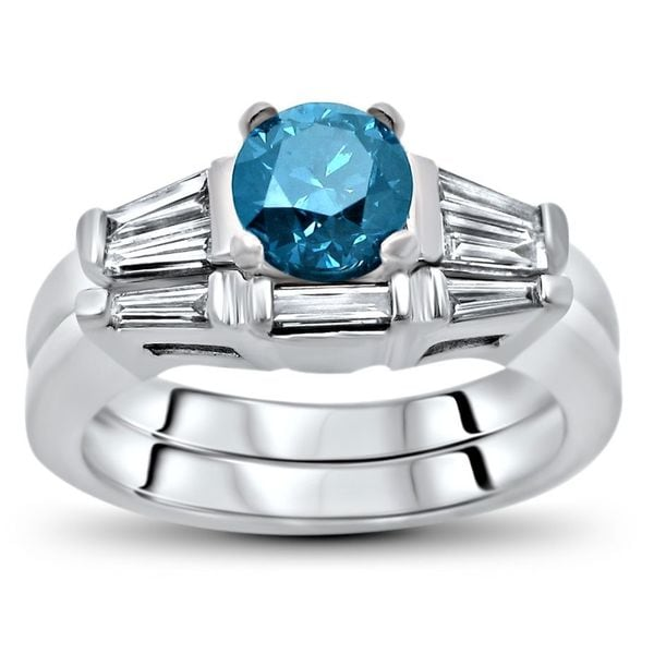 Shop Noori 1 1 5 Ct Tdw Blue Round Diamond Engagement Ring Set 14k
