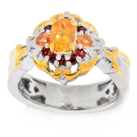 Michael Valitutti Palladium Silver Spessartite & Garnet Flower Ring