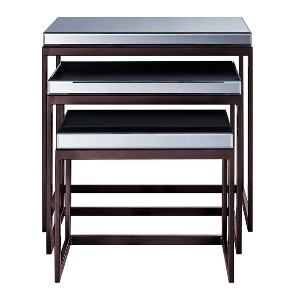 Smoked mirrored metal base nesting tables set of