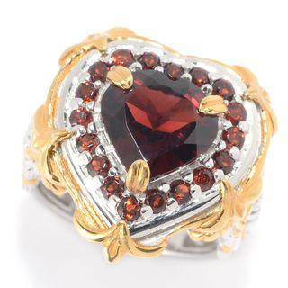 Michael Valitutti Palladium Silver Heart Shaped Garnet Halo Ring