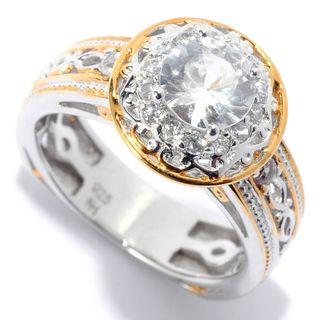 Michael Valitutti Palladium Silver White Zircon Milgrain Detailed Halo Ring