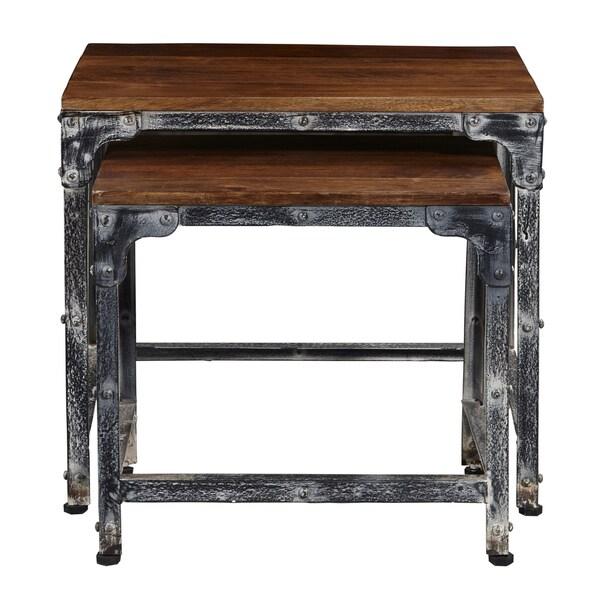 Distressed wood metal nesting tables set of free
