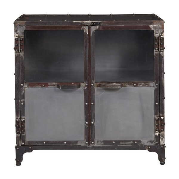 Elegant Distressed Metal And Glass Riveted Door Chest