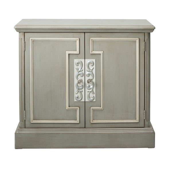 Shop Grey Wood 2 Door Chest With White Frame Overlay Free
