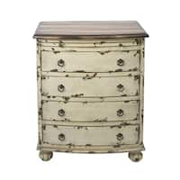 White Distressed Two-tone Drawer Chest
