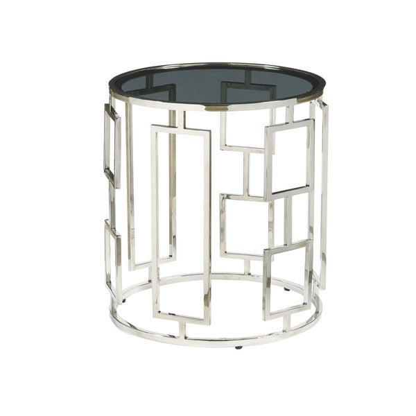 Bangle Silvertone Stainless Steel End Table with Smoked-glass Top