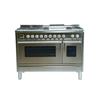 48 in. 5.0 cu. ft. Double Oven Dual Fuel Italian Range with True Convection 7-Burners and Griddle in Stainless Steel|https://ak1.ostkcdn.com/images/products/16068552/P22455024.jpg?impolicy=medium