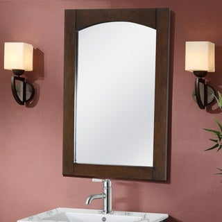 Infurniture Contemporary 24-inch Arched-top Satin-finished Wood Framed Mirror - Brown