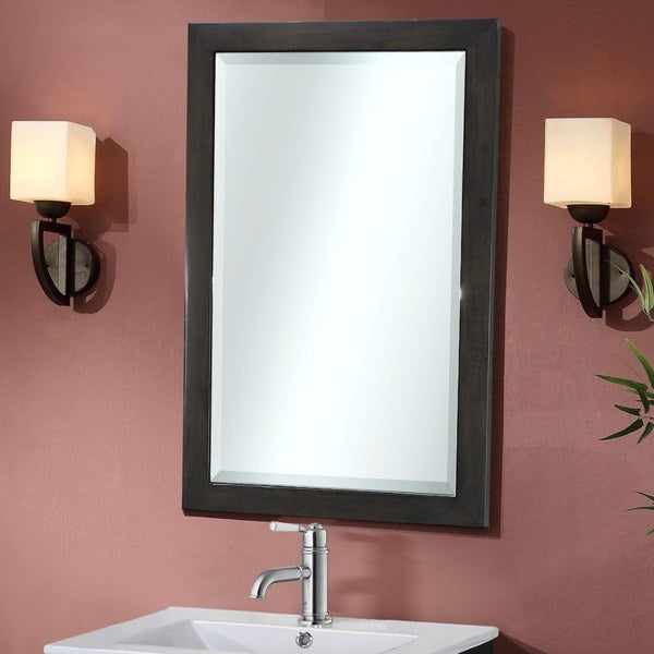 InFurniture Contemporary Style 22 Inch Bevel Edge Wall Mirror