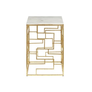 Libra White Marble Accent Table