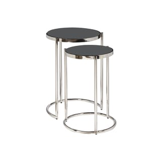 Duet Polished Chrome Black Glass Top Nesting Table (Set of 2)