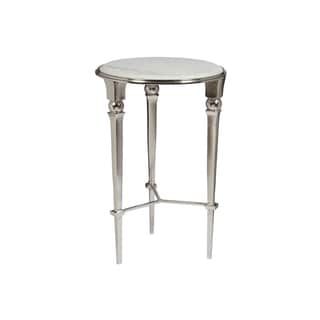 Lott White Marble Round Accent Table