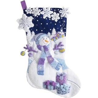 "Frosty Night Stocking Felt Applique Kit-18"" Long"