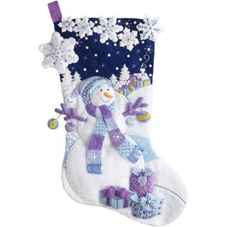 "Frosty Night Stocking Felt Applique Kit-18"" Long https://ak1.ostkcdn.com/images/products/16068787/P22455235.jpg?impolicy=medium"