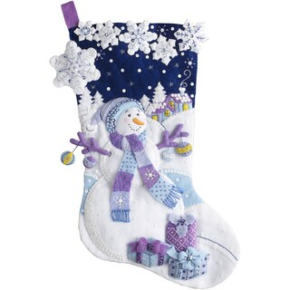 "Frosty Night Stocking Felt Applique Kit-18"" Long"
