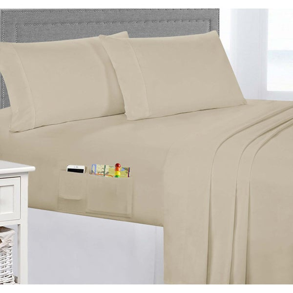 Porch u0026&; Den Belmont Shore Livingston Brushed Microfiber Sheet Set with Side Storage Pockets & Shop Porch u0026 Den Belmont Shore Livingston Brushed Microfiber Sheet ...