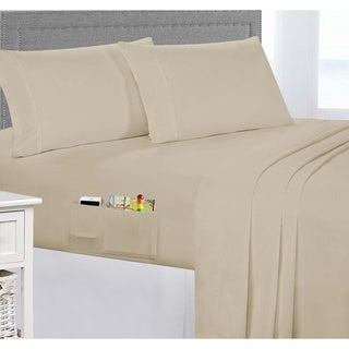 Extra Soft Brushed Microfiber Smart Sheet Set with Side Storage Pockets