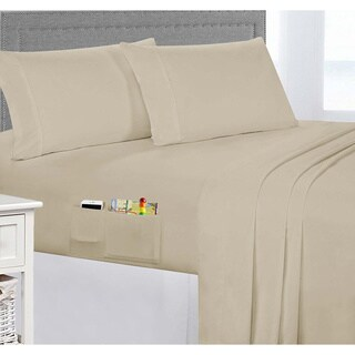Porch & Den Belmont Shore Livingston Brushed Microfiber Sheet Set with Side Storage Pockets (More options available)