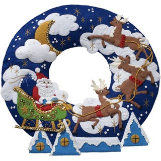 """Over The Rooftop Wreath Felt Applique Kit-15"""" Round https://ak1.ostkcdn.com/images/products/16068804/P22455234.jpg?impolicy=medium"""