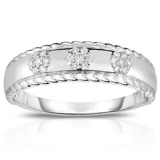 Noray Designs 14K Gold Diamond (0.10 Ct, G-H Color, SI2-I1 Clarity) Flower Stackable Ring - White G-H (More options available)