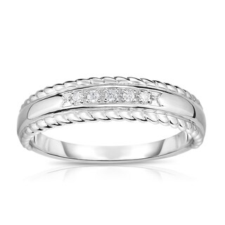 Noray Designs 14K White Gold Diamond (0.05 Ct, G-H Color, SI2-I1 Clarity) 5-Stone Stackable Ring - White G-H (More options available)