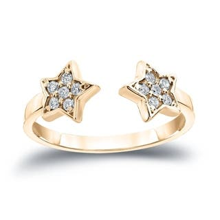 Auriya 14k Gold Stackable 1/8ct TDW Diamond Star Open Cuff Ring|https://ak1.ostkcdn.com/images/products/16068874/P22455272.jpg?impolicy=medium