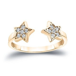 Auriya 14k Gold Stackable 1/8ct TDW Diamond Star Open Cuff Ring
