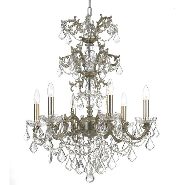 Crystorama Highland Park Collection 6-light Olde Silver/Crystal Chandelier
