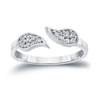 Auriya 14k Gold 1/5ct TDW Diamond Leaf Open Cuff Stack Ring