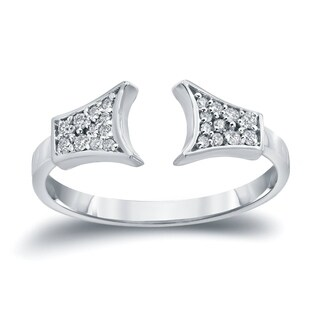 Auriya 14k Gold Stackable 1/5ct TDW Diamond Open Cuff Geometric Ring