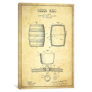 iCanvas Keg Vintage Patent Blueprint by Aged Pixel Canvas Print