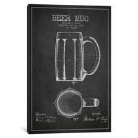 iCanvas Beer Mug Charcoal Patent Blueprint by Aged Pixel Canvas Print