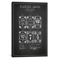 iCanvas Saladee Cards Dark Patent Blueprint by Aged Pixel Canvas Print