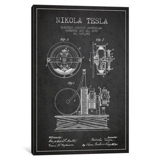iCanvas Electric Circuit Charcoal Patent Blueprint by Aged Pixel Canvas Print